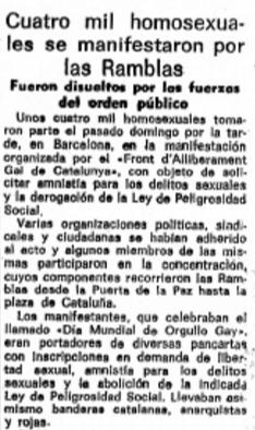 Recorte de periódico haciendo mención al primer Orgullo celebrado en Barcelona en el año 1977
