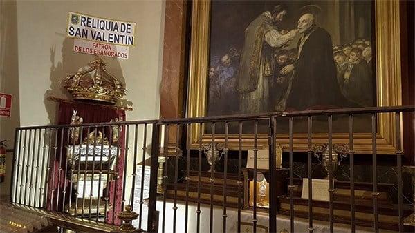 Reliquia de San Valentín en la Iglesia de san antón
