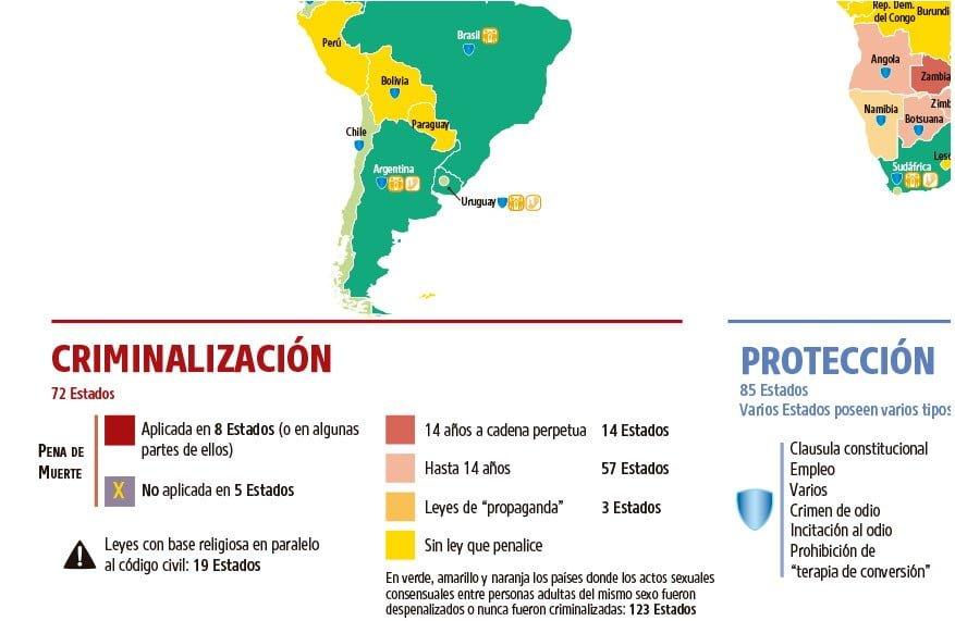 3 - Leyes sobre orientación sexual en el mundo - Mapa general | Fuente Img. ilga