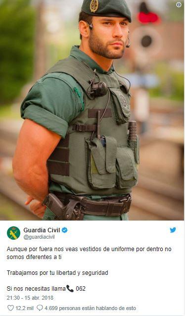 Jorge Pérez Guardia Civil con miles de seguidores en las redes gracias a un tweet publicado por la benemerita