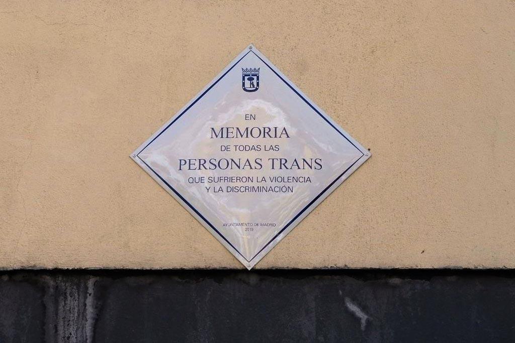 plaza de la memoria trans, placa de la memoria trans, trans, madrid